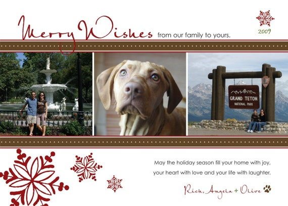 Holiday Snowflakes Photo Card. Style Name - Anchorage. Option to Print.