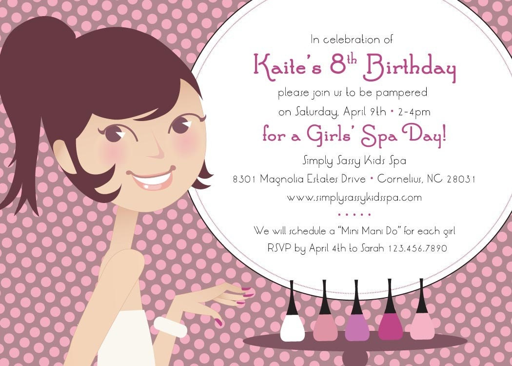 Pamper Party Invitations with adorable invitations layout