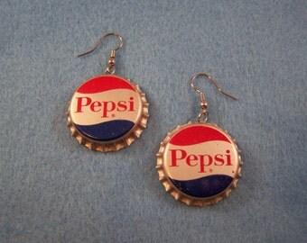 Vintage PEPSI COLA  Bottle Cap Earrings Soda Pop Tonic Caps Crowns Tops