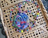 Mexican pottery necklace  sun/moon strung with colorful beads