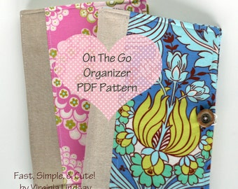 On the Go Organizer PDF Pattern Holds paper pad pen stationary postcards coupons and more