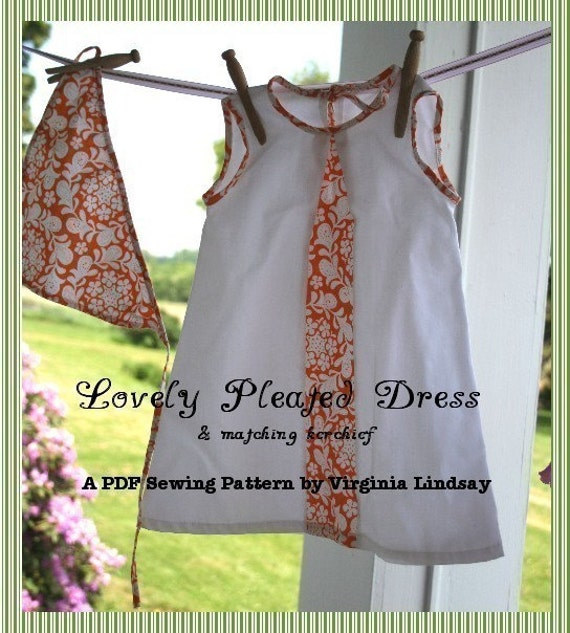 Lovely Pleated Dress Girls PDF Pattern ebook Tutorial sizes 18 mos to 4T