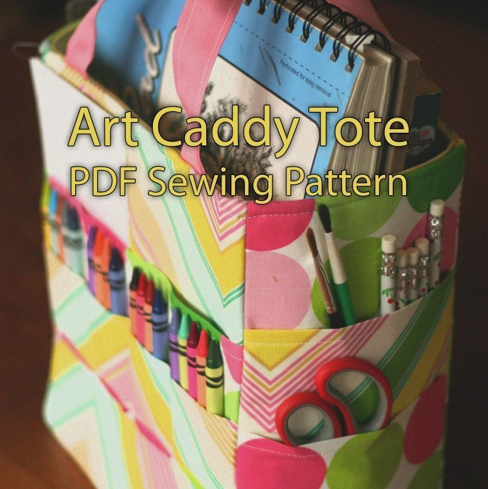 Art caddy tote pdf pattern ebook organize your art crayons for Arts and crafts tote bags