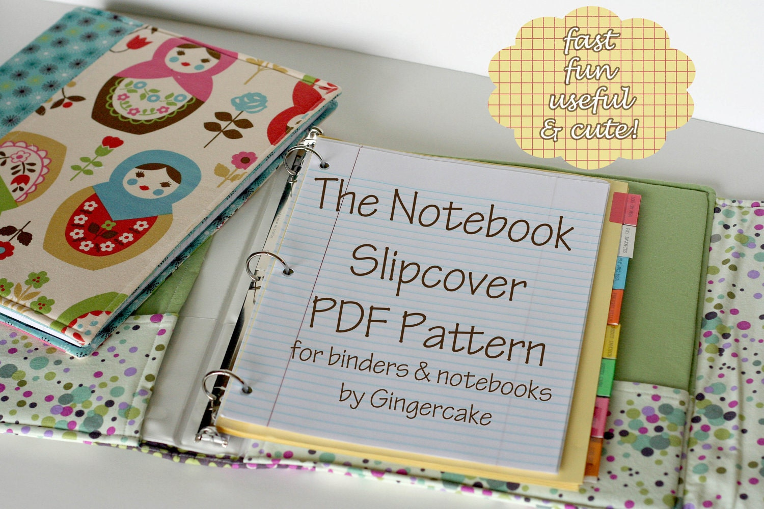 Notebook Cover Pattern : Notebook binder cover sewing pattern a pdf any