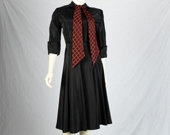 50s Dress - 2 pc Black Red Taffeta - Full Party with Jacket XS