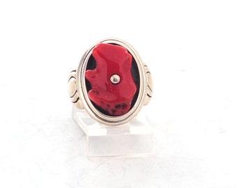 Kabana - Native American Ring - Sterling Coral Bear Fetish - sz 7