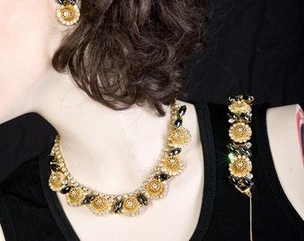Juliana Parure - Golden Filigree Ball Hematite Navette Necklace, Bracelet, Earrings - Book Piece