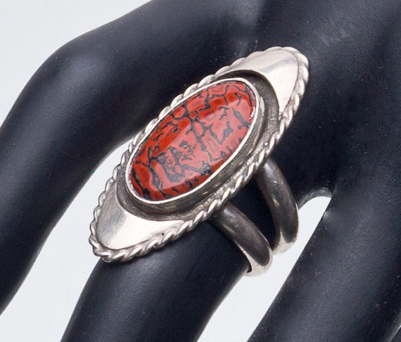 Native American Ring Pertrified Red Dinosaur Bone Sterling NA Ring sz 6