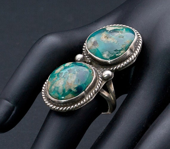 Native American Ring Big Navajo Variscite Sterling Double Stone Ring sz 71/2