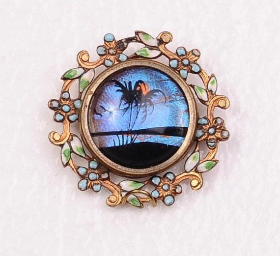 """Victorian Enamel Butterfly Wing Pin Brooch 1 1/4"""""""