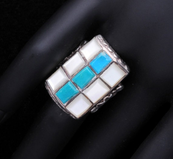 Native American Ring Sterling Zuni Raised Inlay Turquoise MOP  sz 8 1/4 - Best Buy