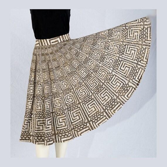 Vintage Mexican Skirt 50s Sequins Cotton Circle Plus M  W28
