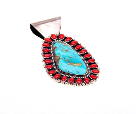Turquoise Coral Pendant Navajo Sterling Ernest Roy Begay