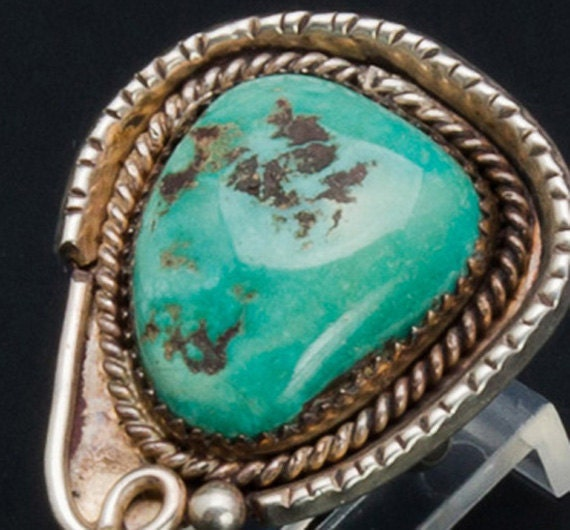 Turquoise Ring - Navajo 60s Sterling - Old Green Turquoise - sz 6
