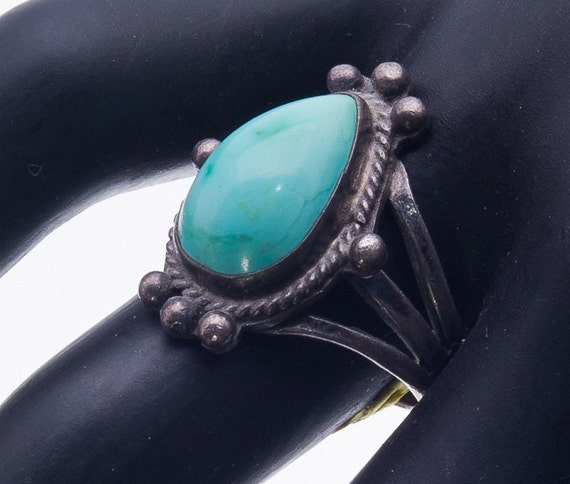 Navajo Pawn Sterling Ring - 50s Royston Turquoise Cabochon - sz 7