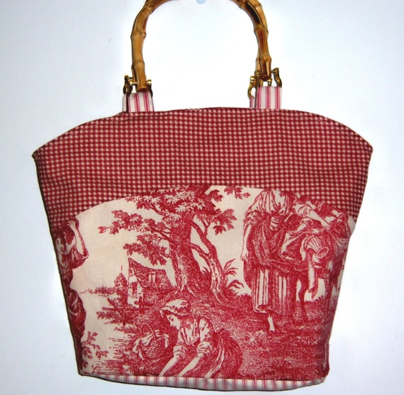 CLEARANCE Red and Cream Toile Handbag