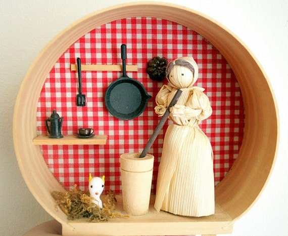 Little Corn Husk Doll in her Tiny Kitchen - diorama