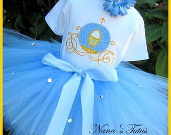 Cinderellas Coach,Sparkle ,Party Outfit, Personalized,Princess Party,Theme Party,Birthday Tutu Set  in Sizes 1 yr  thru 5yrs