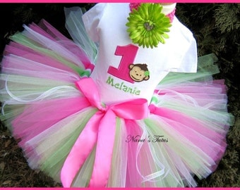 Birthday Monkey  with Number, Party Outfit,  Theme Party, personalized, Tutu Set, Birthday Tutu in Sizes 1yr thru 5yrs