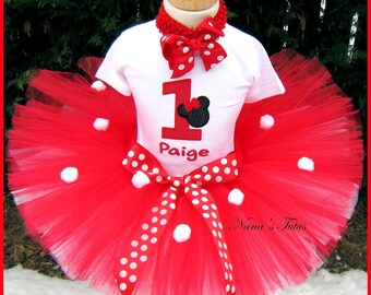 Red Hot Minnie, Minnie Mouse, Party Outfit, Tutu Set,Theme Parties, Disney Vacation  Sizes 1yr thru 5yrs