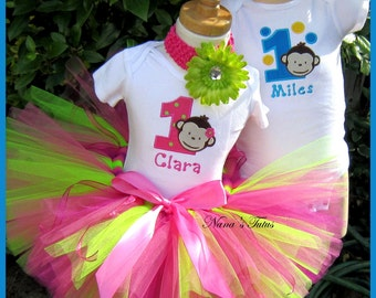Twin, His and Hers,Mod Monkey, Party Outfits,Theme Partie,Personalized,Custom