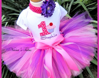 Birthday Cupcake with Number, Party Outfit, Tutu Set, Theme Party, Personalized  in Sizes 1yr thru 5yrs
