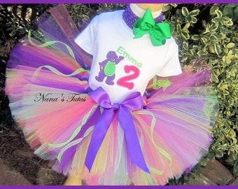 Birthday Barney, Party Outfit,Tutu Set, Birthday Number,Theme Party, Birthday Tutu Set, Personalized in Sizes 1yr thru 5yrs
