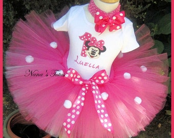 Hot Pink, Minnie Party Outfit ,Minnie with number,Theme Party,Minnie Birthday,Personalized, Birthday Tutu Set in Sizes 1yr thru 5yrs