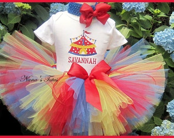 3pc, Party Outfit, Carnival, Theme Party, Personalized, Circus Party, Tutu Set in Sizes 1yr thru 6yrs