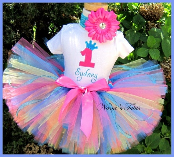 CUSTOM - Birthday  Number, Princess Crown, Multi Color,  Party Outfit,Tutu Set perfect for the Birthday Girl in Sizes 1yr thru 5yrs