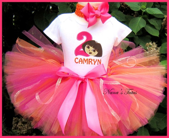 Birthday  Dora with Number, Party Outfit,Tutu Set, Dora Party, Theme  Parties in Sizes 1yr thru 5yrs