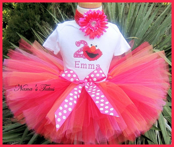 Birthday Elmo with Number, Party Outfit,Tutu Set, Polka Dots and Elmo, Theme Parties in Size 1yr thru 5yrs