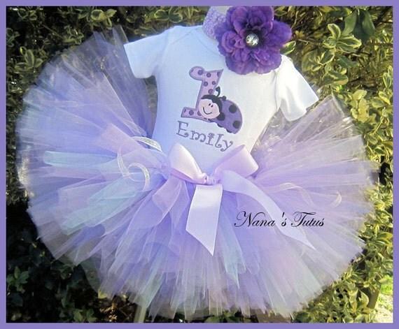 Purple Ladybug,Party Outfit,Tutu Set, Theme Party, Birthday Tutu Set in Size 1yr thru 6yrs