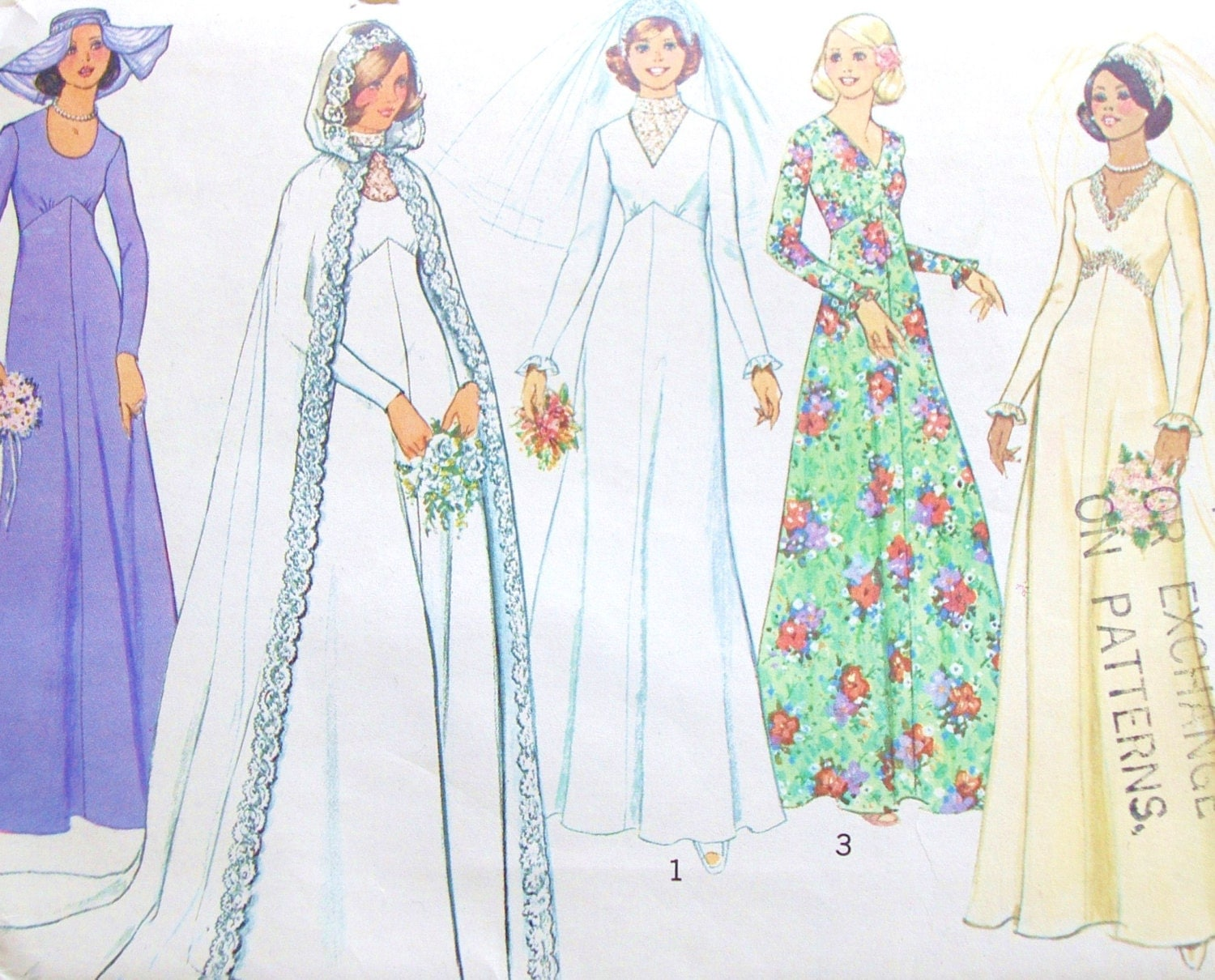Wedding Gown With Cape: Vintage 1975 Simplicity Bridal & Bridesmaid Dress Hooded Cape