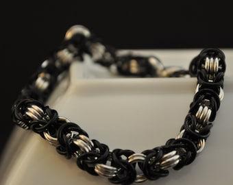 Black and Silver Aluminum Bracelet B24