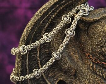 Aluminum Byzantine and Barrel Necklace N100