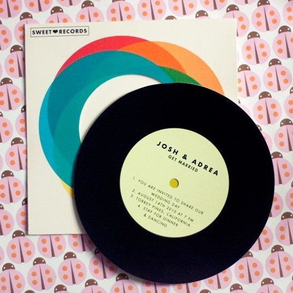 Record with sleeve wedding invitation for Etsy vinyl wedding invitations