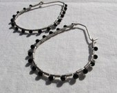 Black Onyx Jeweled Sterling Teardrop Hoop Earrings
