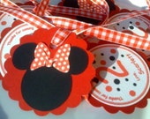 20 CUSTOMIZED Thank You Tags In Red & Black with Minnie Mouse
