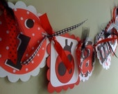 I AM 1  HIGHCHAIR Banner in Red  & Black with Red and Black LadyBugs