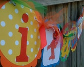 I AM 1  High Chair Banner in Primary Colors with Sesame Street Characters