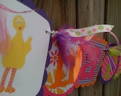 Sesame Street  HAPPY BIRTHDAY BANNER With Elmo Big Bird Cookie Monster in Bright Funky Colors