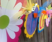 HAPPY BIRTHDAY and Name banner  Combo in bright funky and pastel colors with white daisy flowers