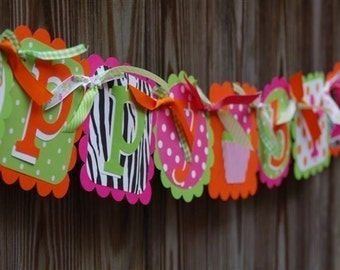 Happy Birthday Banner in Hot Pink Orange Lime Green and Zebra Print