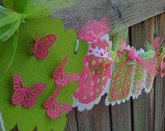 HAPPY BIRTHDAY BANNER in Hot Pink and Lime Green with 3D Butterflies