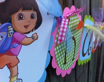 Dora Happy Birthday/Name Banner Combo in pink, light blue, orange, lavender, lime green & Hot pinks