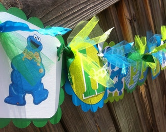 COOKIE MONSTER Happy Birthday Banner in Lime Green, Primary Green & Turquoise