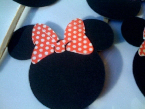 MINNIE MOUSE Cupcake Toppers - Set of 24