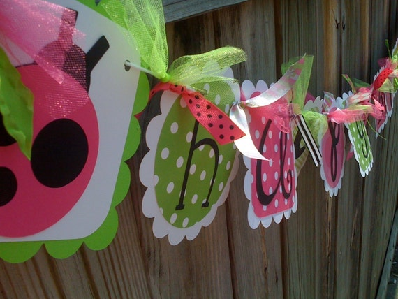 Hot Pink  Lime & Black Ladybug HAPPY BIRTHDAY Banner