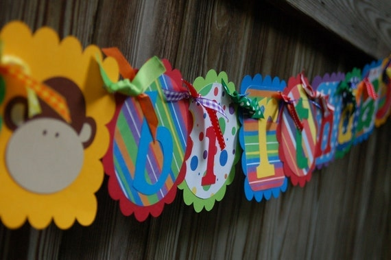 HAPPY 1ST BIRTHDAY Banner and Name Banner  Combo in Primary Colors with Funky Monkeys